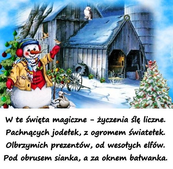 życzenia Bożonarodzeniowe Bałwanek święta Wierszyki