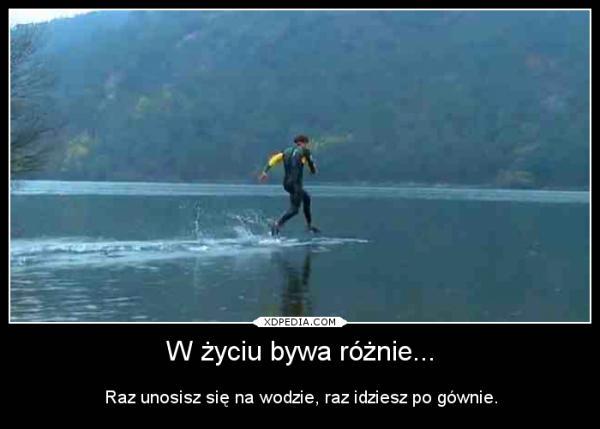 W życiu bywa różnie... Raz unosisz się na wodzie, raz idziesz po gównie.