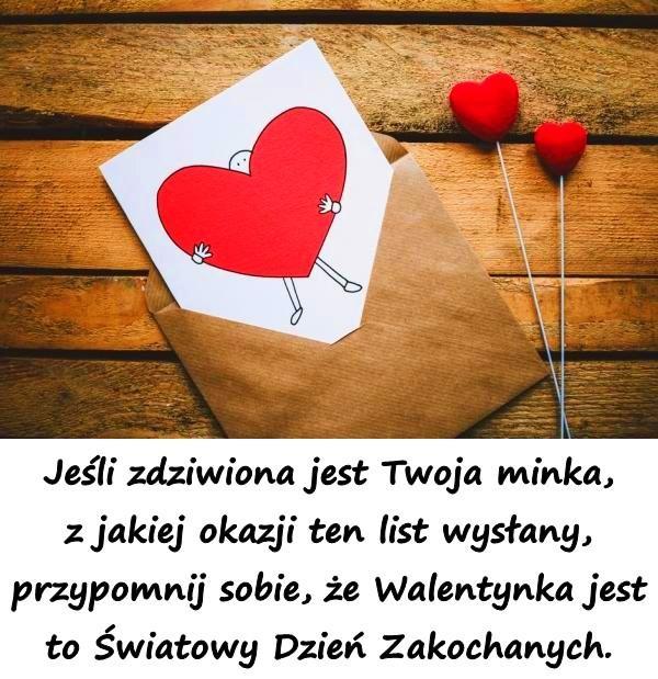 Jeśli zdziwiona jest Twoja minka, z jakiej okazji ten list wysłany, przypomnij sobie, że Walentynka jest to Światowy Dzień Zakochanych.