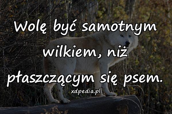 Wolę być samotnym wilkiem, niż płaszczącym się psem.