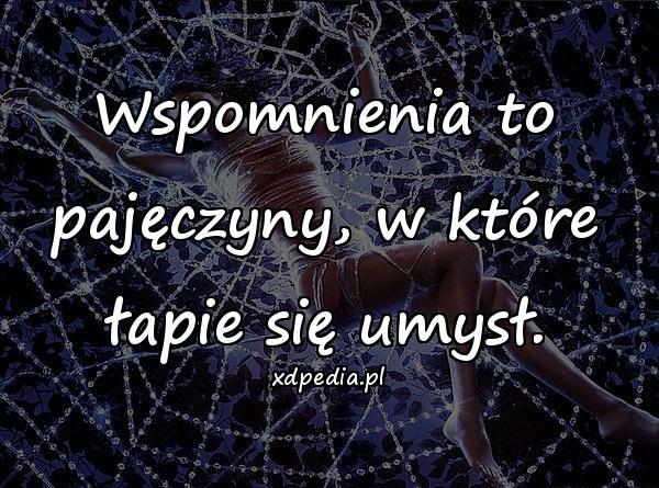 Wspomnienia to pajęczyny, w które łapie się umysł.