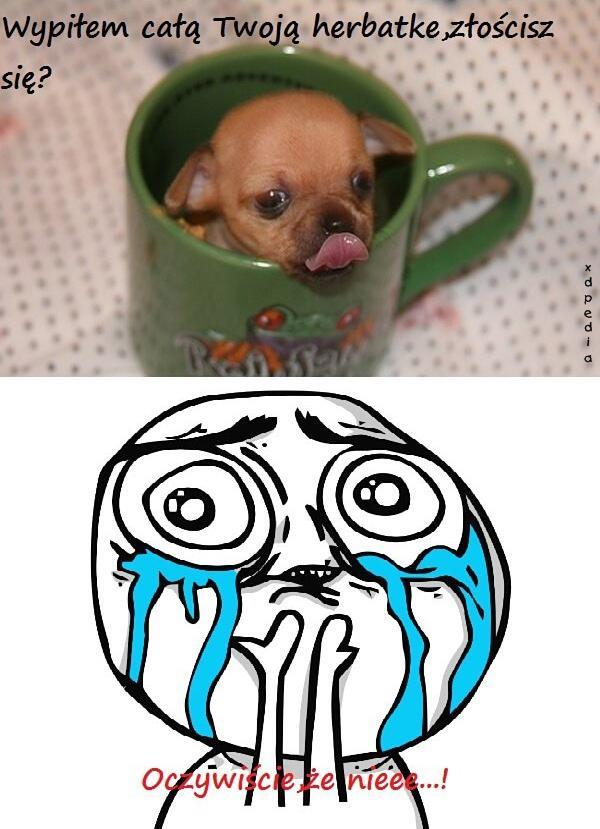 Wypiłem całą Twoją herbatę złościsz się?