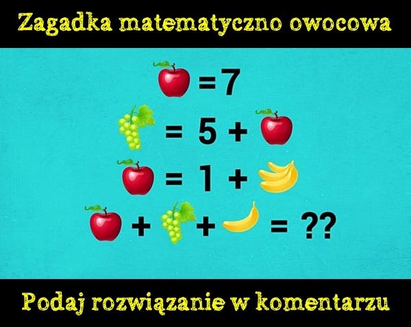 Zagadka matematyczno owocowa. Podaj rozwiązanie w komentarzu.