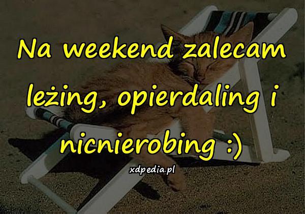 Na weekend zalecam leżing, opierdaling i nicnierobing :)