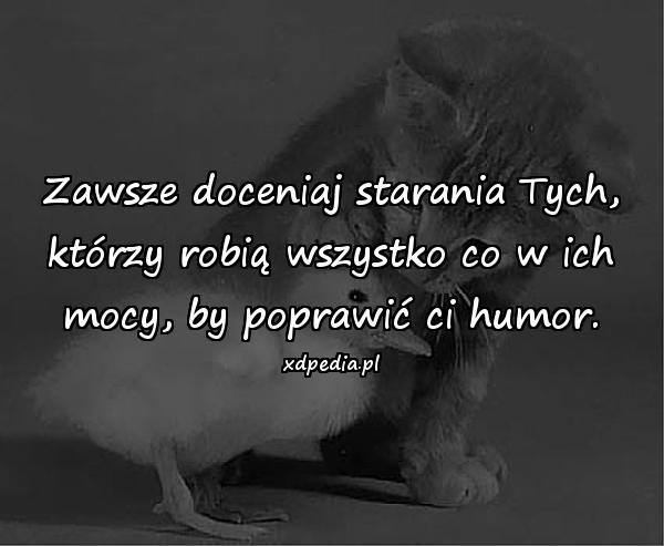 Zawsze doceniaj starania Tych, którzy robią wszystko co w ich mocy, by poprawić ci humor.