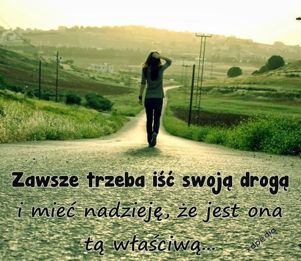 Zawsze trzeba iść swoją drogą i mieć nadzieję, że jest ona tą właściwą...