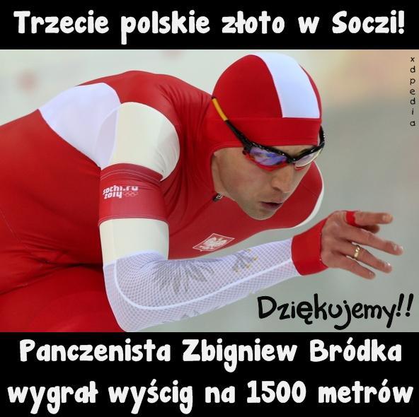 Trzecie polskie złoto w Soczi! Panczenista Zbigniew Bródka wygrał wyścig na 1500 metrów. Dziękujemy!!