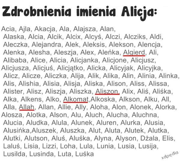 Zdrobnienia imienia Alicja: Aliszon, Alkomat, Allah