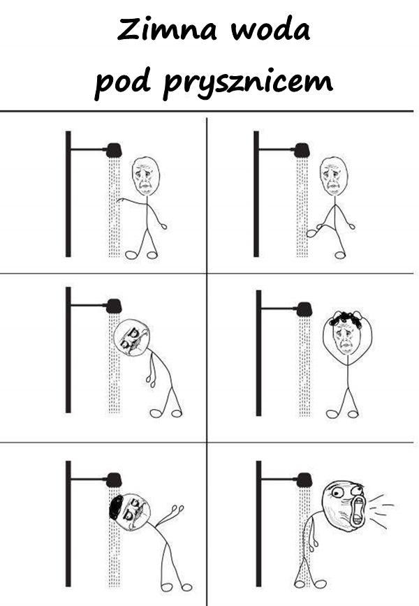 Zimna woda pod prysznicem