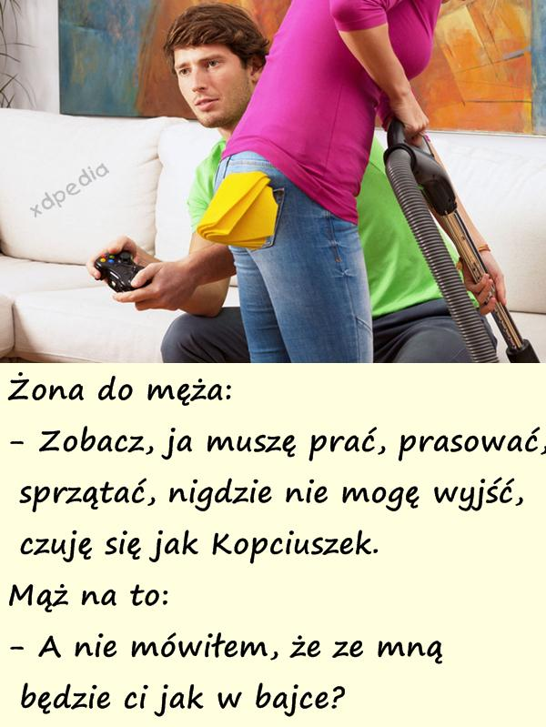Żona do męża: - Zobacz, ja muszę prać, prasować, sprzątać, nigdzie nie mogę wyjść, czuję się jak Kopciuszek. Mąż na to: - A nie mówiłem, że ze mną będzie ci jak w bajce?