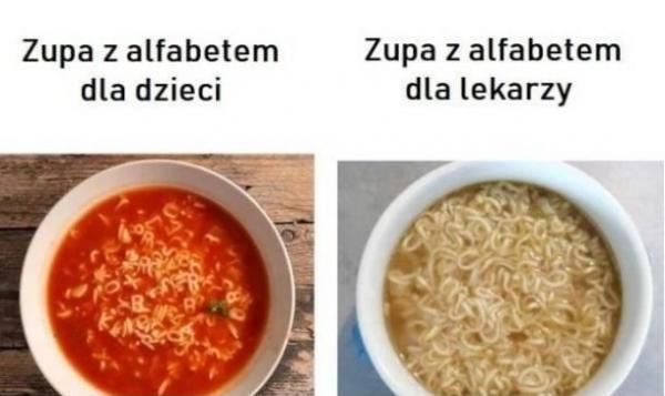 Zupa z alfabetem dla dzieci i dla lekarzy