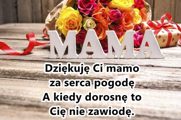 Dziękuję Ci mamo za serca pogodę A kiedy dorosnę to Cię nie zawiodę.