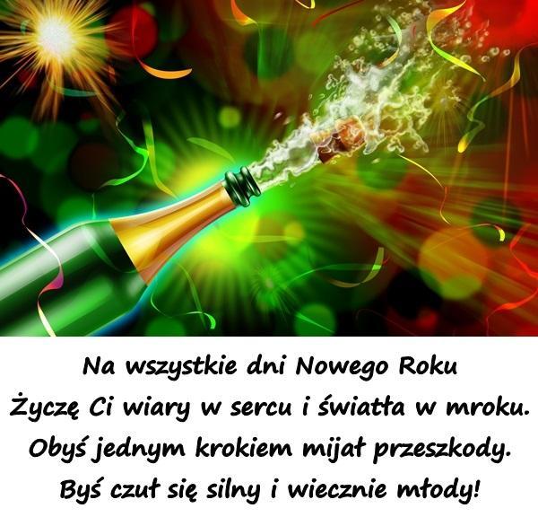 Na wszystkie dni Nowego Roku Życzę Ci wiary w sercu i światła w mroku. Obyś jednym krokiem mijał przeszkody. Byś czuł się silny i wiecznie młody!