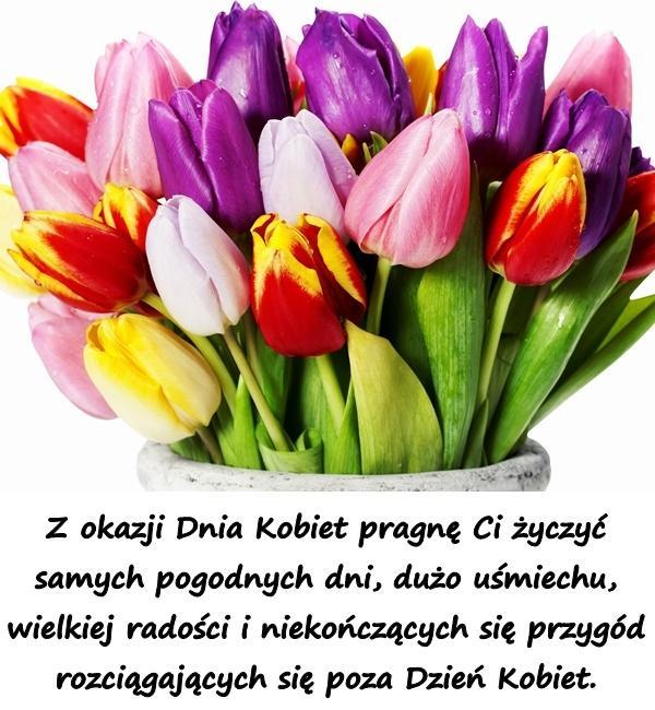 Z okazji Dnia Kobiet pragnę Ci życzyć samych pogodnych dni, dużo uśmiechu, wielkiej radości i niekończących się przygód rozciągających się poza Dzień Kobiet.
