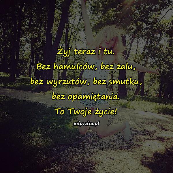 Żyj teraz i tu. Bez hamulców, bez żalu, bez wyrzutów, bez smutku, bez opamiętania. To Twoje życie!